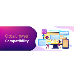 Cross-browser compatibility concept banner header vector
