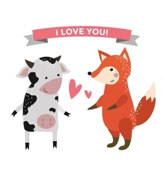 Cute cartoon animals couples fall in love banner vector