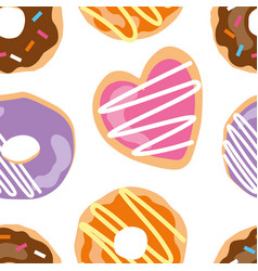 Cute seamless pattern with donuts and cookies vector