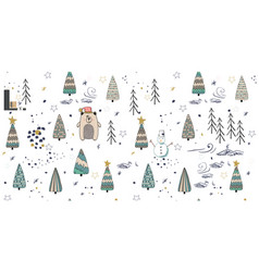 cute winter trees seamless pattern on white vector image