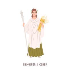 demeter or ceres - goddess harvest and vector image