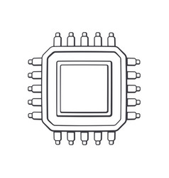 Electronic integrated circuit top view outline vector