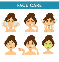 face care woman applying different masks and vector image