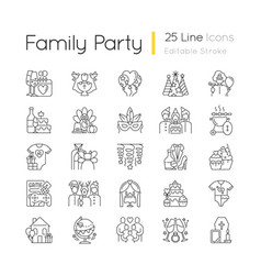 Family party linear icons set vector