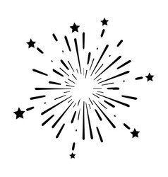 Fireworks explosion boom bomb with stars design vector