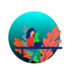 flat design business woman with laptop vector image