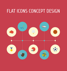 flat icons glove volleyball puck and other vector image
