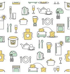 flat line art kitchen seamless pattern vector image