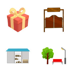 Gift transportation and other web icon in cartoon vector