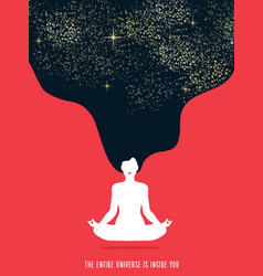 Girl doing yoga meditation for relaxation concept vector