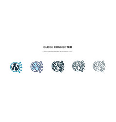 globe connected circuit icon in different style vector image