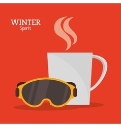Goggles and cup coffee hot winter sport label vector