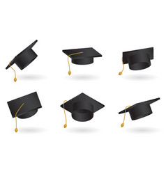 graduation cap set univercity education hat vector image