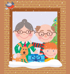 Grandparents and grandson in christmas vector