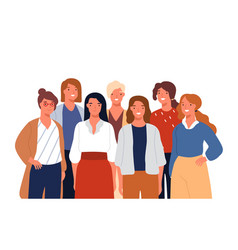 group portrait adorable young smiling woman vector image