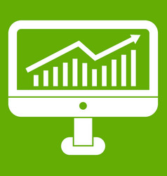 growth graph on the computer monitor icon green vector image