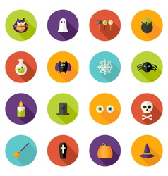 Halloween Flat Circle Icons Set vector image