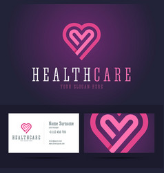 Health care logo and business card template vector image