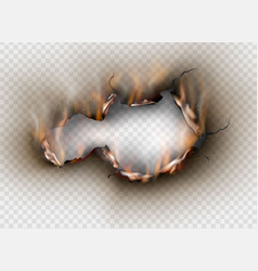 Hole torn in ripped paper with burnt and flame on vector