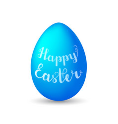 lettering happy easter on blue egg with shadow on vector image