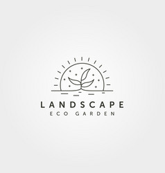 Line art tree landscape logo with sunset creative vector