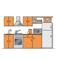 line kitchen interior with furniture vector image