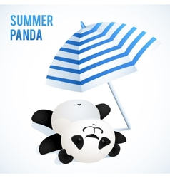 Little cute panda taking sunbath under blue vector image