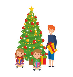 Little kids with winter clothes and christmas tree vector