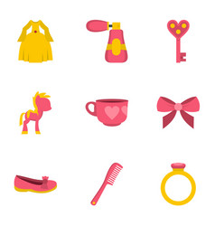 little princess icon set flat style vector image