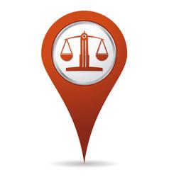 Location lawyer balance icon vector