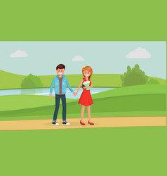 lovely couple on date in park vector image