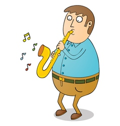 Man playing saxophone vector image