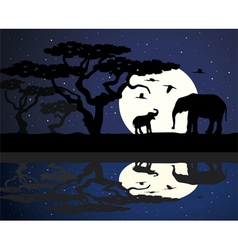 mother elephant and baelephant in africa vector image