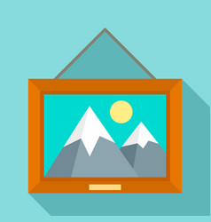 Museum art picture icon flat style vector