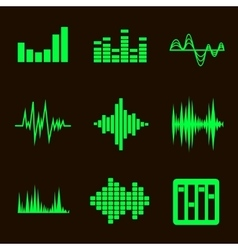 music soundwave icon set on black vector image vector image