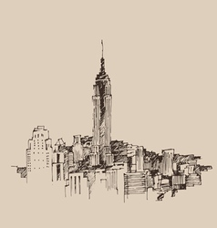 New York city engraving vector image