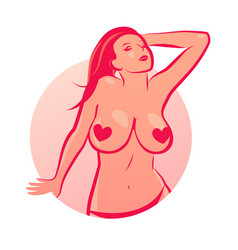 Nude girl with big boobs in round emblem vector