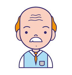Old man teacher with mustache and uniform clothes vector