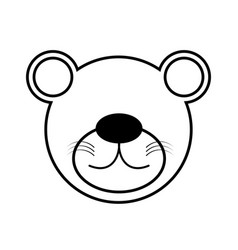 outline bear head animal vector image vector image