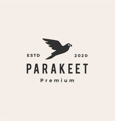 parakeet hipster vintage logo icon vector image