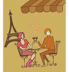 Paris couple celebrating vector