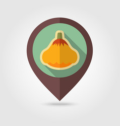 Pattypan squash flat pin map icon vegetable vector