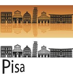 Pisa skyline in orange background vector