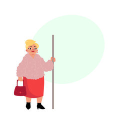 Plump middle age woman housewife standing in vector