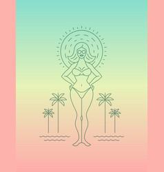 positive modern line art style girl or woman on vector image
