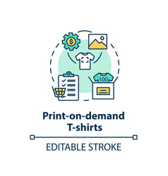 print on demand t shirts concept icon vector image