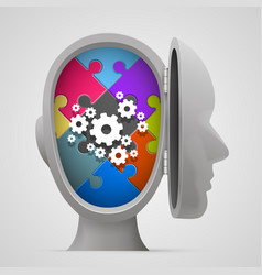 puzzle and gears in the open head vector image