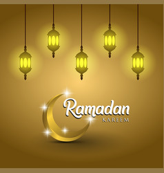 Ramadan kareem and lanterns on golden background vector