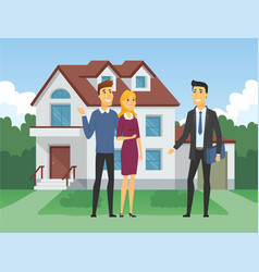 real estate agency - cartoon people characters vector image