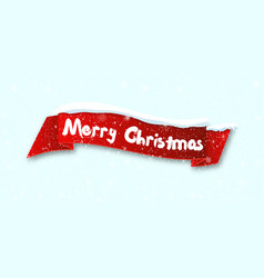 red realistic curved ribbon merry christmas vector image
